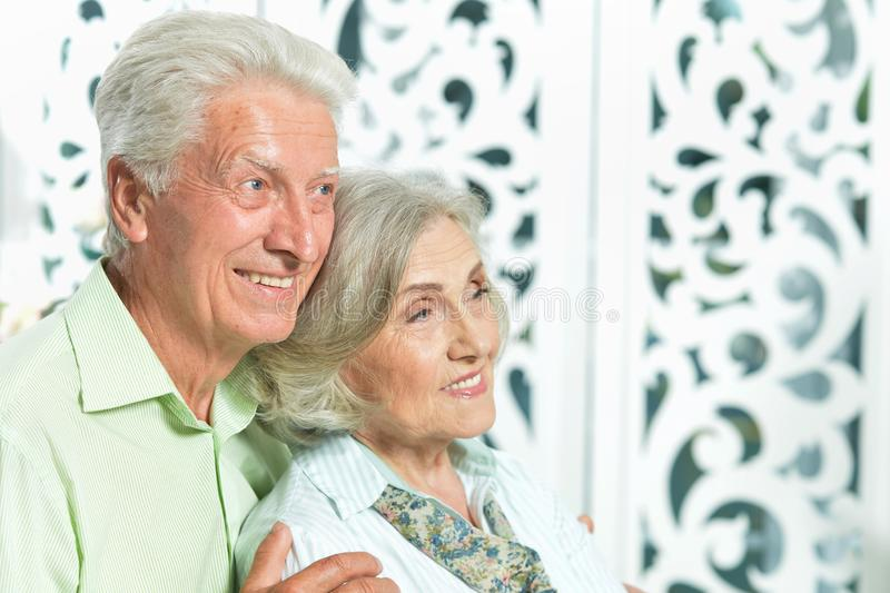 Portrait of happy beautiful senior couple posing at home royalty free stock photo