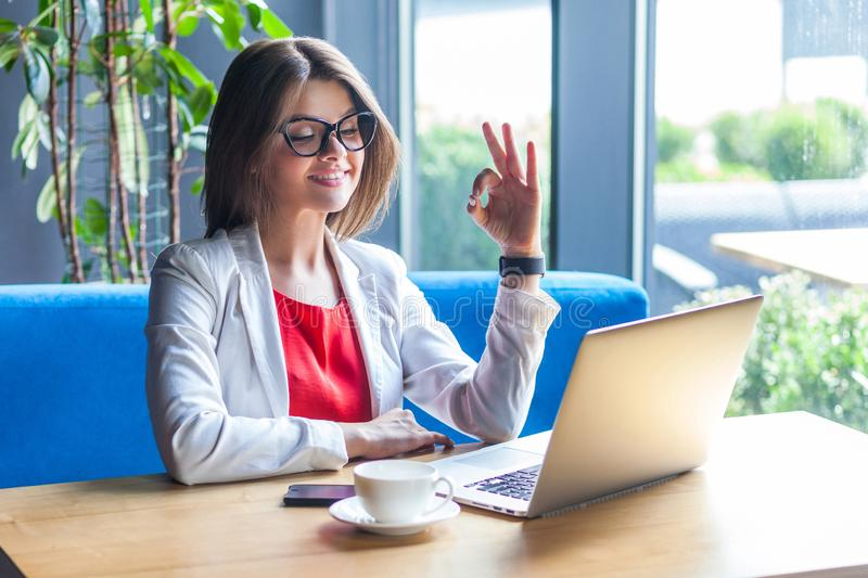 Portrait of happy beautiful stylish brunette young woman in glasses sitting, looking at laptop screen with Ok sign on video call stock images
