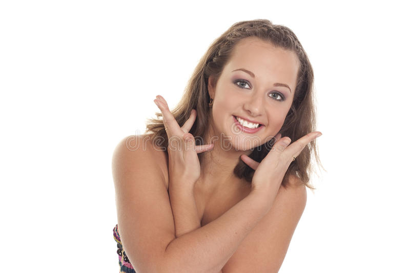 Portrait of the happy beautiful woman stock images