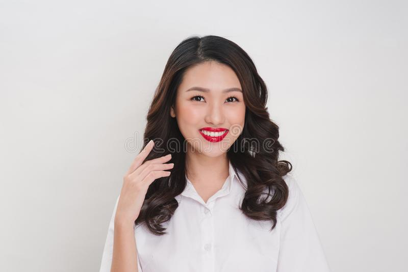 Portrait of happy beautiful young businesswoman smiling looking stock image