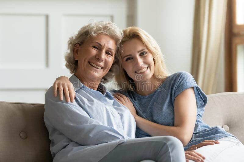Portrait of happy bonding female two generations family. royalty free stock photography