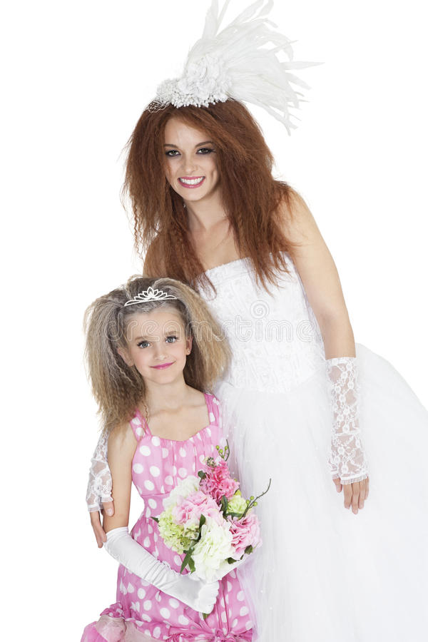 Download Portrait Of Happy Bride With Bridesmaid Holding Bouquet Over White Background Stock Images - Image: 29673234