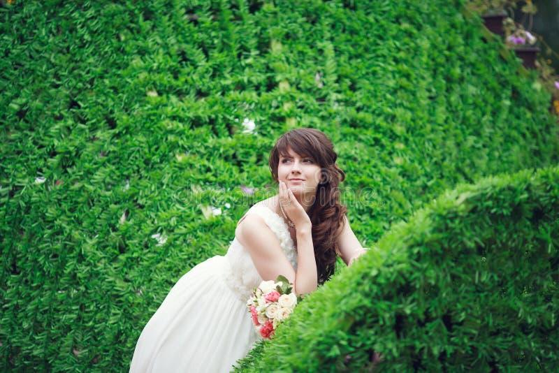 Portrait of happy bride stock images