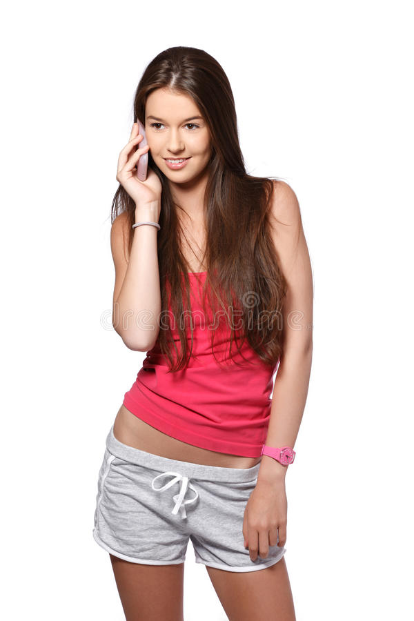 Portrait of a happy brunette teenager royalty free stock image