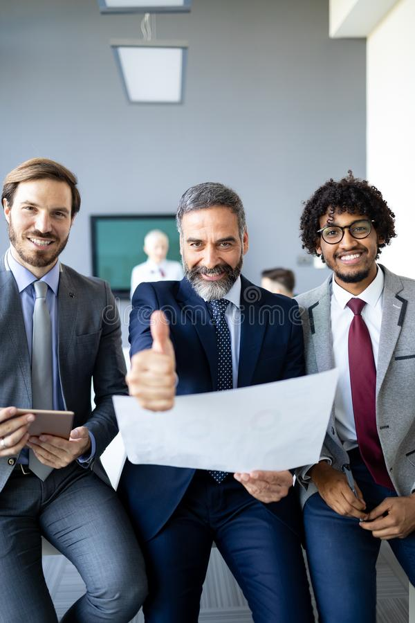 Portrait of happy business people. Concept of financial, insurance and marketing business royalty free stock photography