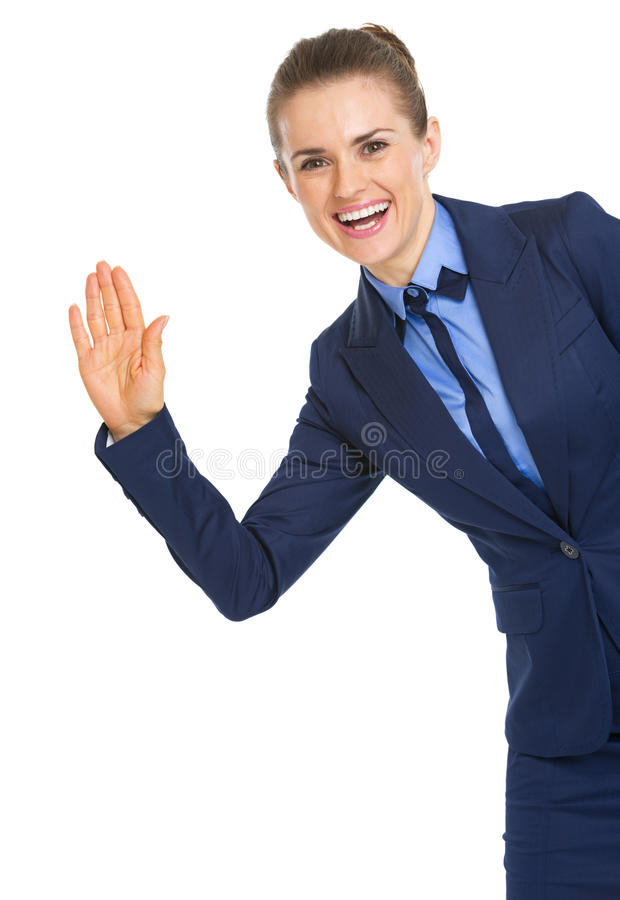 Download Portrait Of Happy Business Woman Greeting Stock Image - Image: 32808809