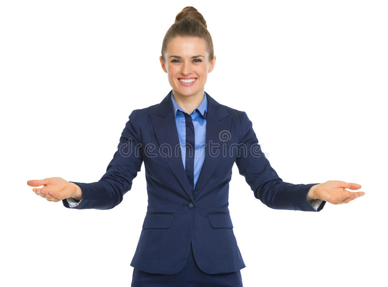 Portrait of happy business woman welcoming royalty free stock photo