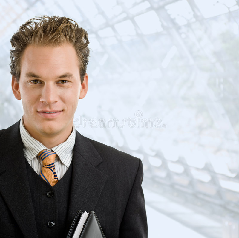 Portrait of happy businessman stock photo