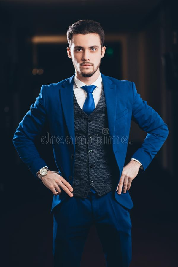 Download Happy Businessman With Arms Crossed Standing In Office Stock Image - Image of content, indoors: 111057861