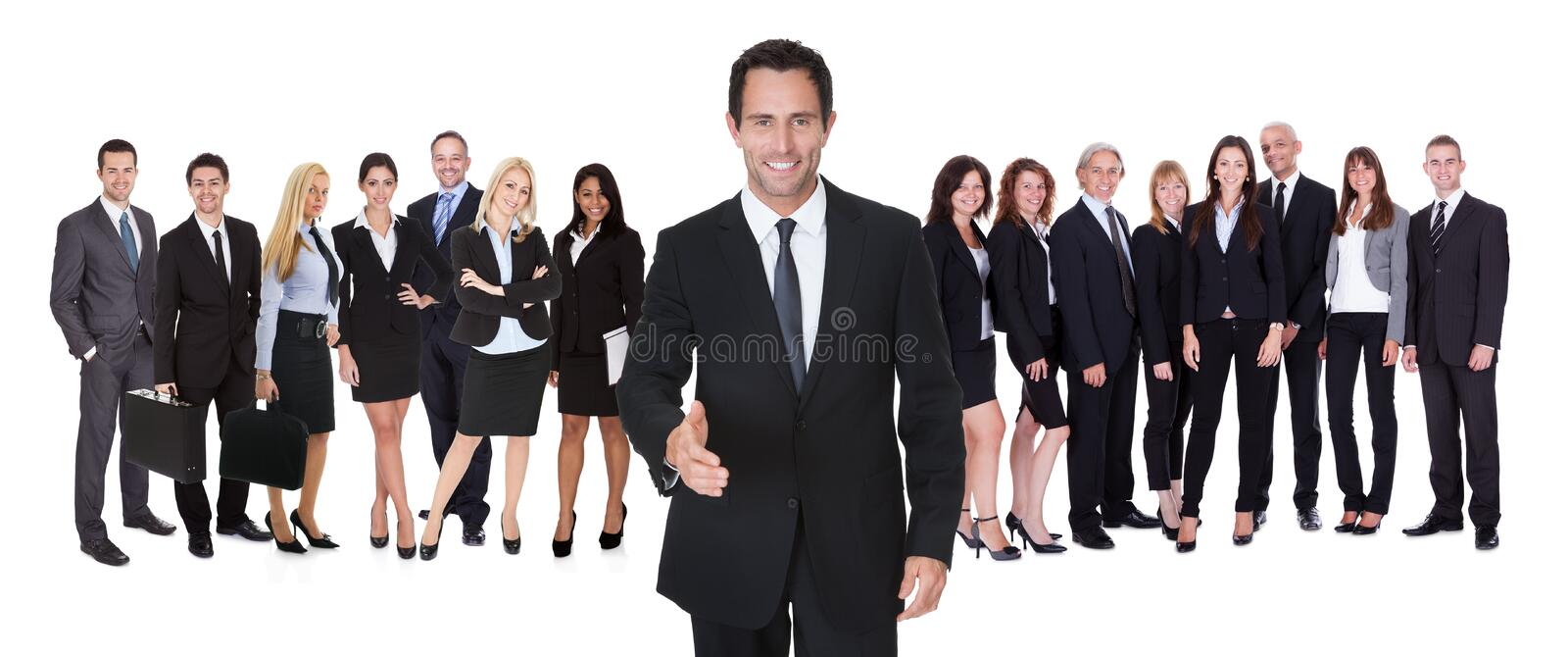Portrait of happy businessman and his team royalty free stock image