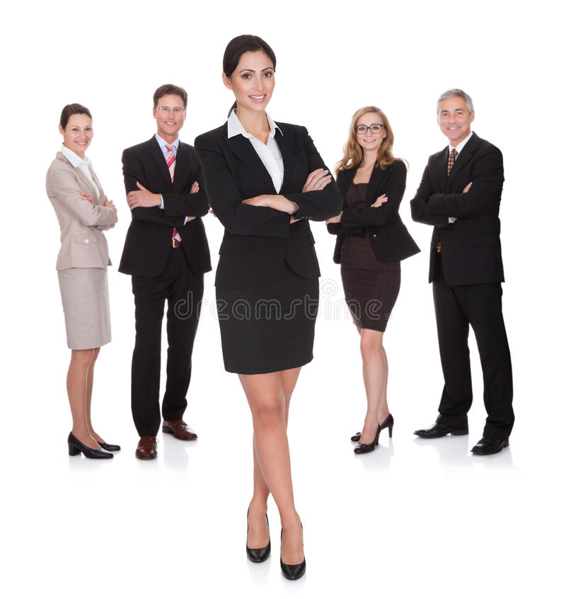 Portrait of happy businesswoman and her team royalty free stock photography