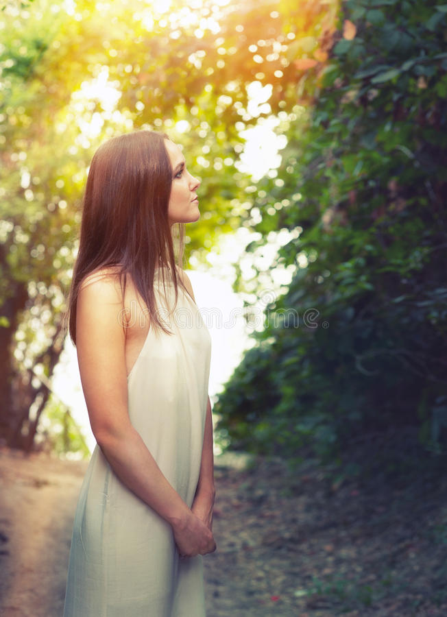 Portrait of a happy calm fashion woman dressed in white dress illuminated by sunlight. stock image