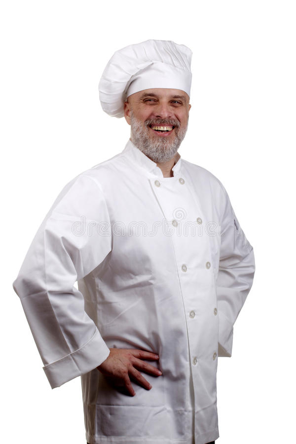Portrait of a Happy Chef. In a chef's hat and uniform isolated on a white background stock images