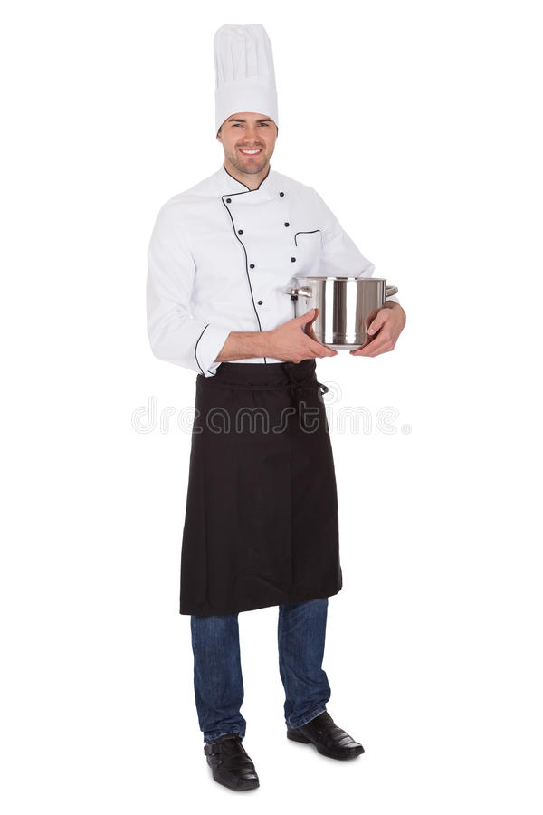 Portrait of happy chef. Isolated on white stock image