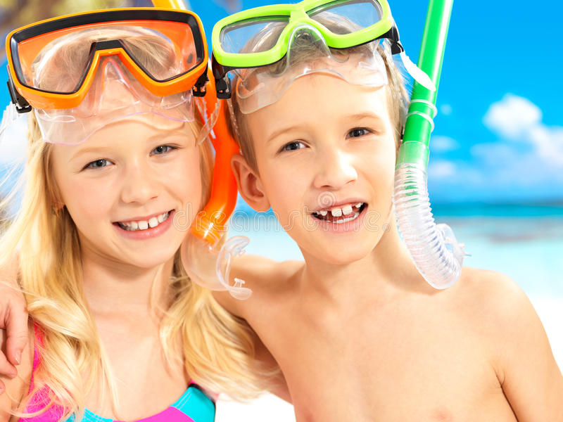 Download Portrait Of The Happy Children Enjoying At Beach Royalty Free Stock Photos - Image: 28848378