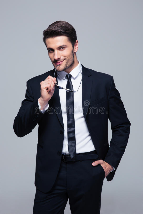 Portrait of a happy confident businessman royalty free stock photos