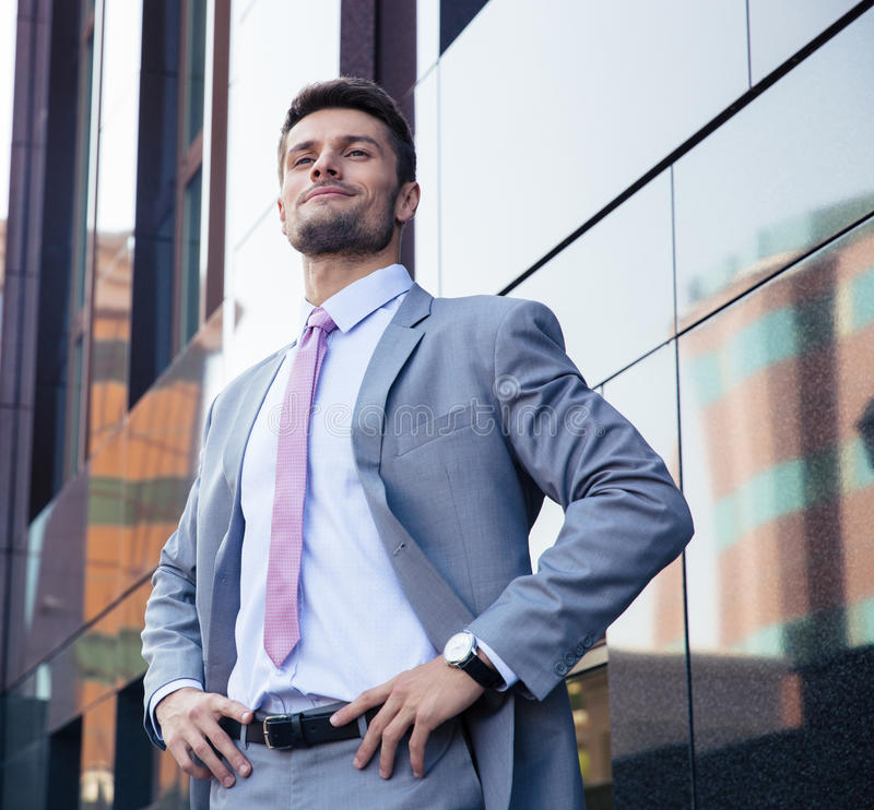 Portrait of a happy confident businessman outdoors royalty free stock photos