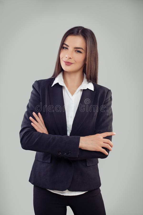 Portrait of a happy confident young business woman royalty free stock image