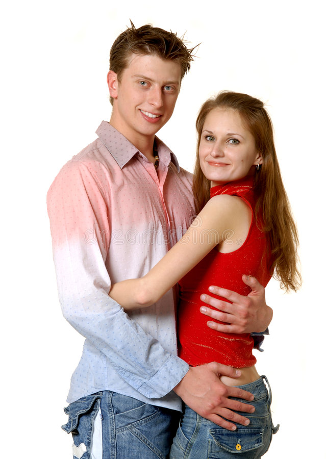 Portrait of happy couple. (isolated royalty free stock photos