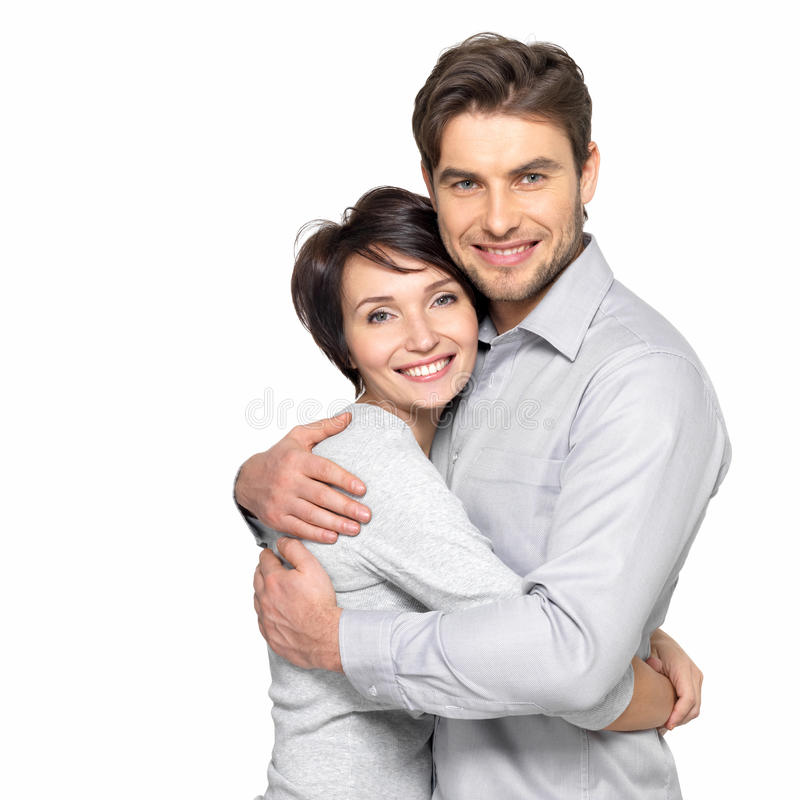 Portrait of happy couple isolated on white stock photography