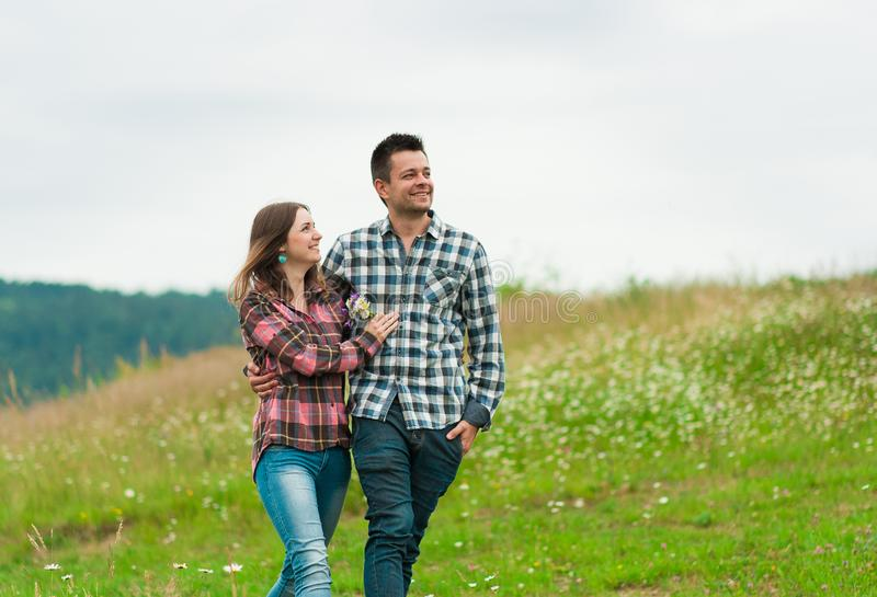 Portrait of a happy couple laughing. Lovely happy couple have fun.romantic photo.Hugs together stock photos