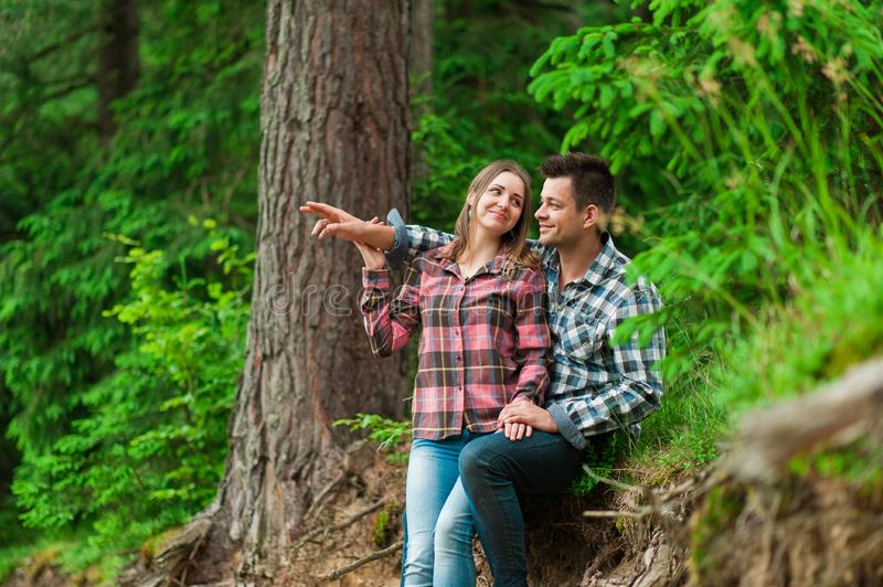Loving couple having fun on summer vacation royalty free stock photos