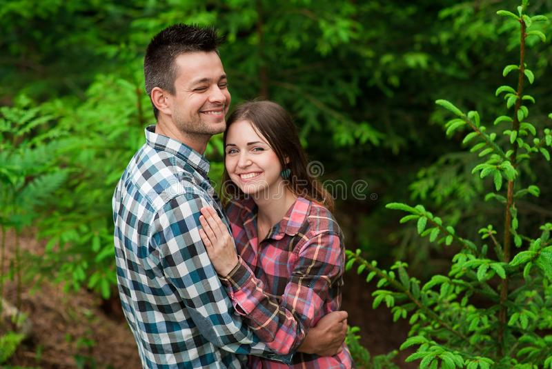 Loving couple having fun on summer vacation. Portrait of a happy couple laughing.Young couple in love outdoors. Summer holidays, love royalty free stock photography