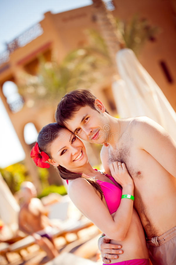 Portrait of a happy couple on resort royalty free stock photos