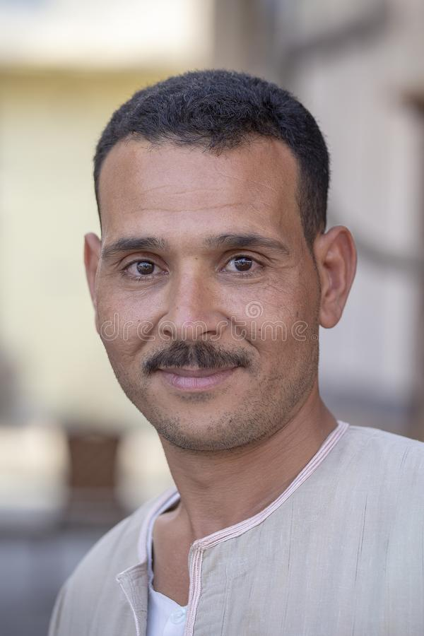 Portrait happy egyptian man in old city market, Sharm El Sheikh, Egypt royalty free stock photo