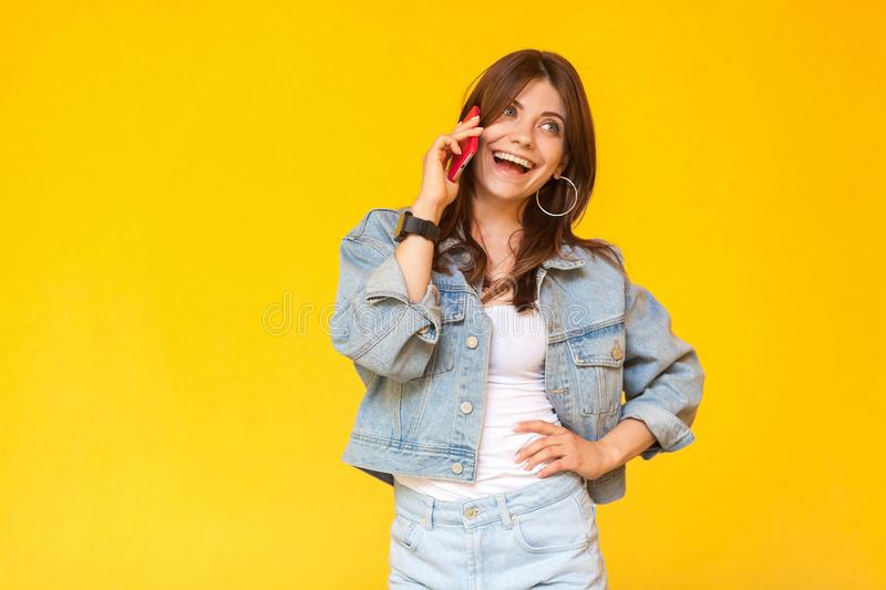 Portrait of happy excited beautiful brunette young woman in denim casual style standing, hand on waist, looking away and talking royalty free stock photo