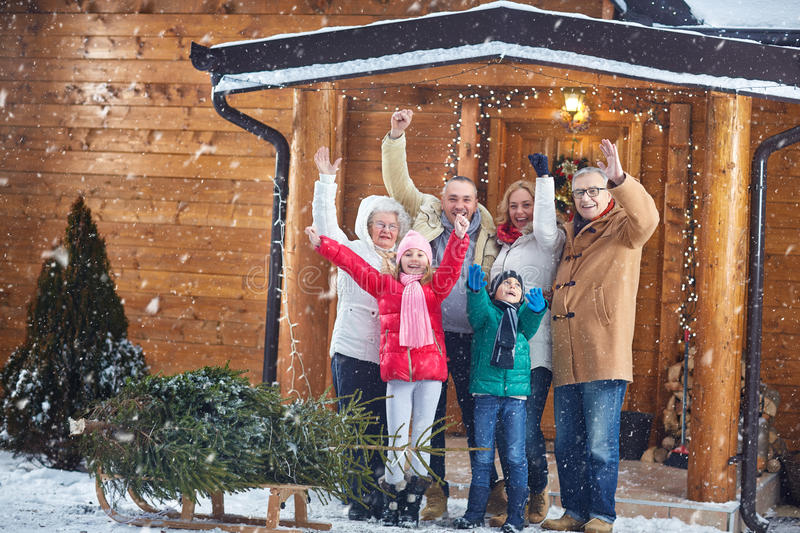 Portrait of happy family on Christmas royalty free stock images