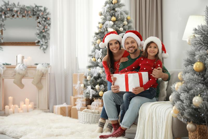 Portrait of happy family with Christmas gift, space for text stock images