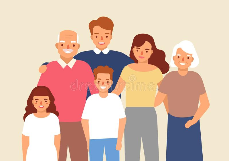 Portrait of happy family with grandfather, grandmother, father, mother, child girl and boy standing together. Cute funny vector illustration