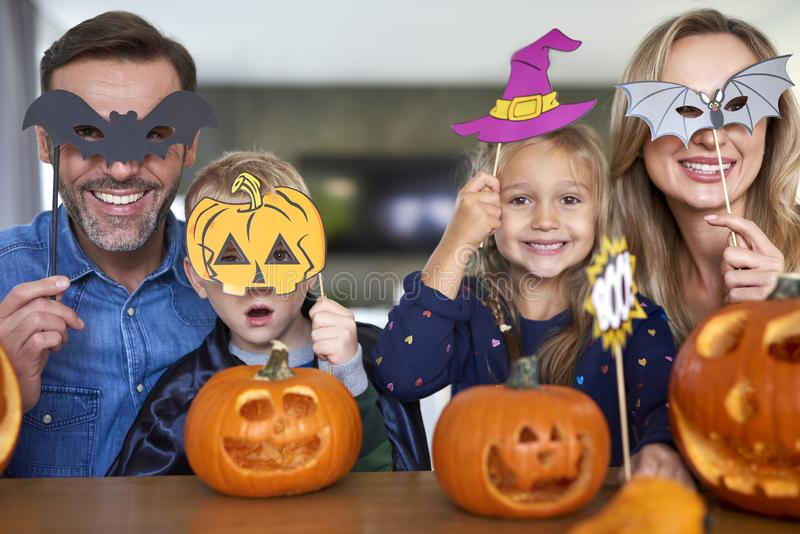 Portrait of family during Halloween royalty free stock photos