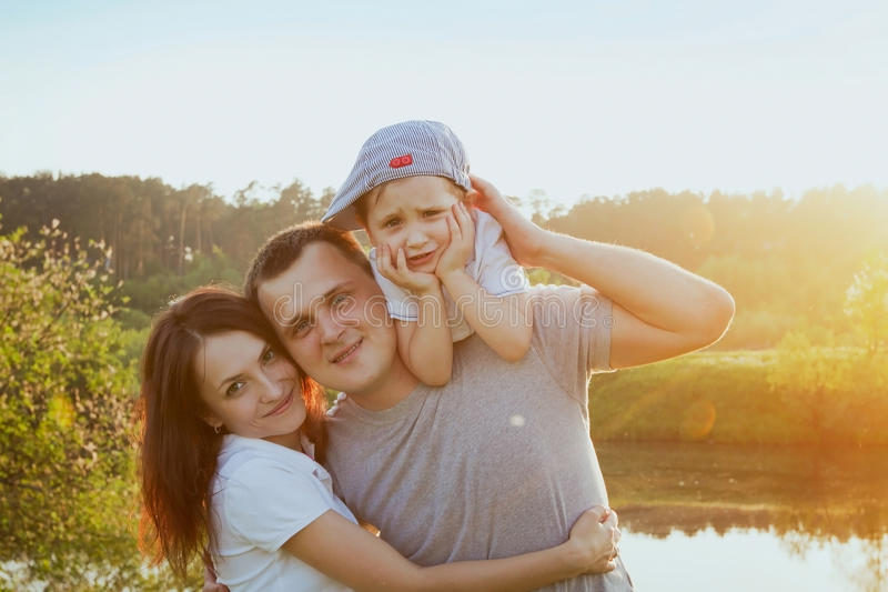 Portrait of happy family stock photo