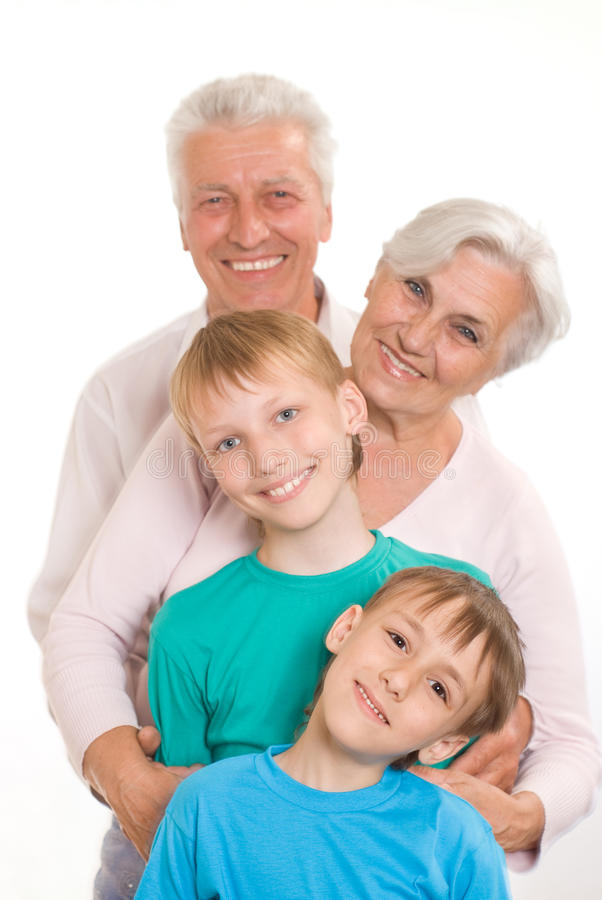 Portrait of a happy family playing stock images