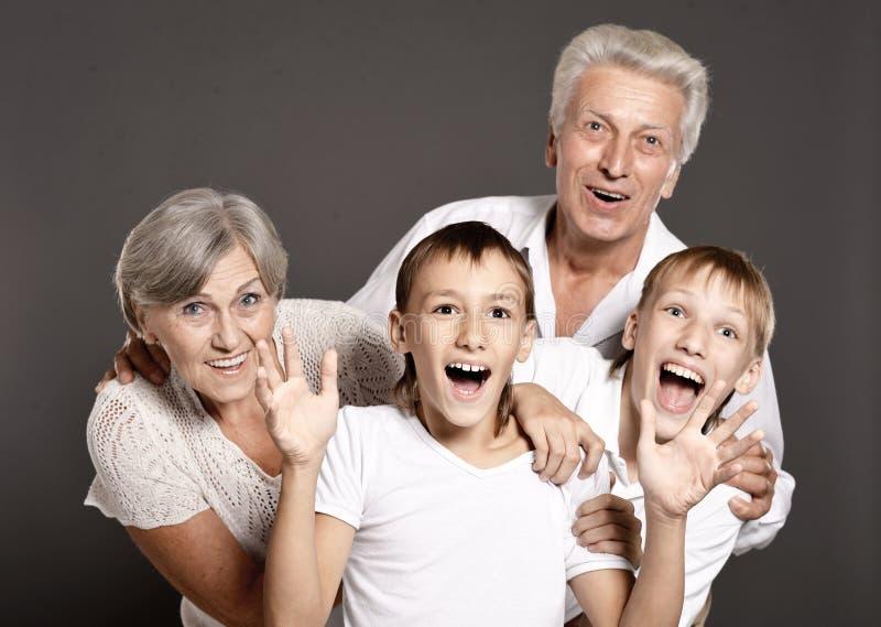 Portrait of happy family portrait in studio royalty free stock images