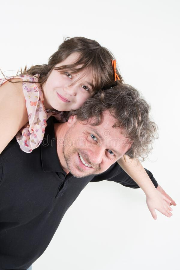 Portrait of happy father and and daughter in fun and love royalty free stock images