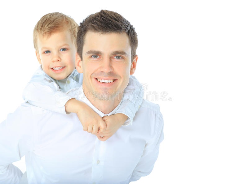 Portrait of happy father and son stock image
