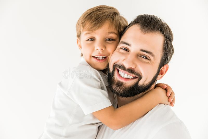 Happy father and son together stock photos