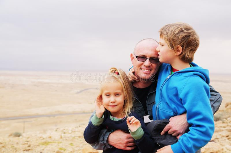 Father with two kids stock photography