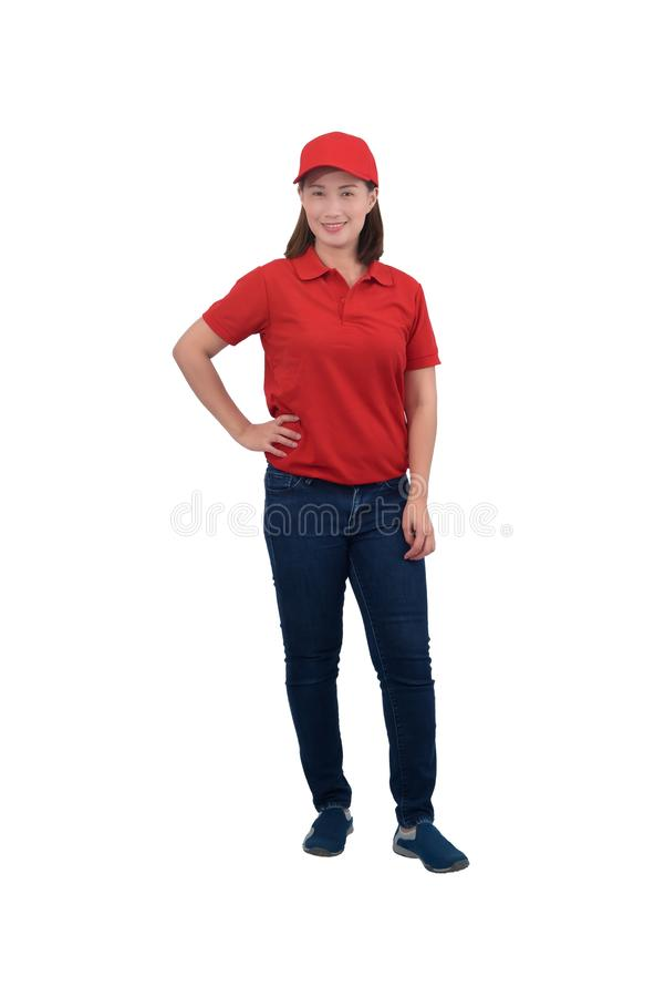 Portrait Of happy Female staff in uniforms isolated on white stock photo
