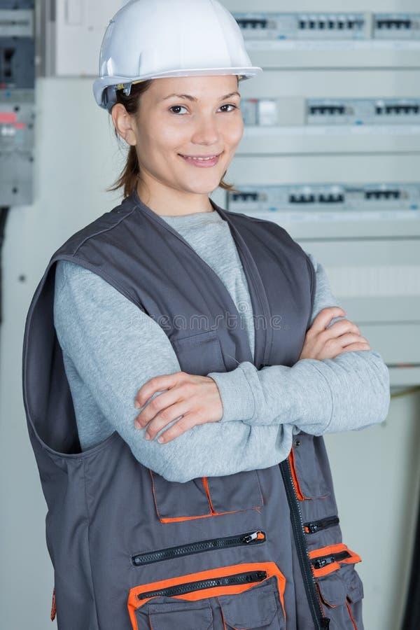 Portrait happy female worker stock photos