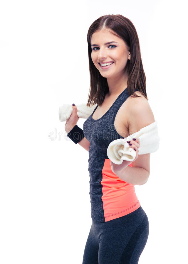 Portrait of a happy fitness woman with towel royalty free stock photo
