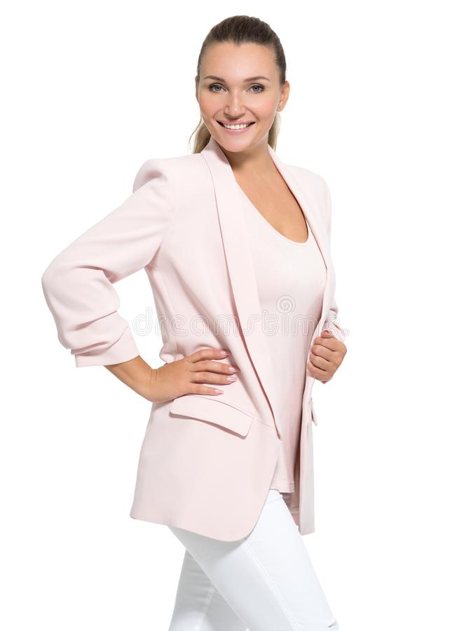 Portrait of a happy friendly smiling woman royalty free stock photo