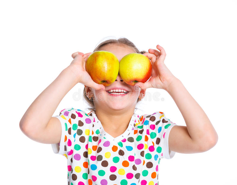 Download Portrait Of Happy Girl With Apple Stock Image - Image: 24836083