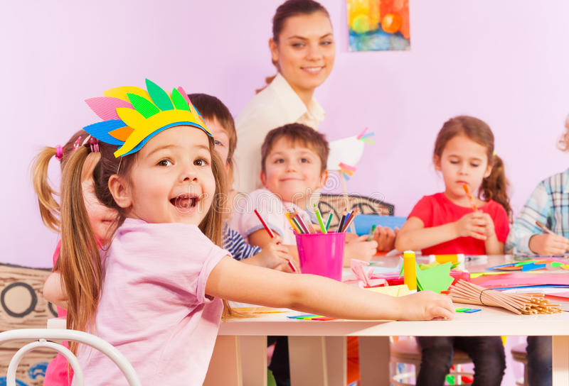 Portrait of happy girl in early developing class royalty free stock image