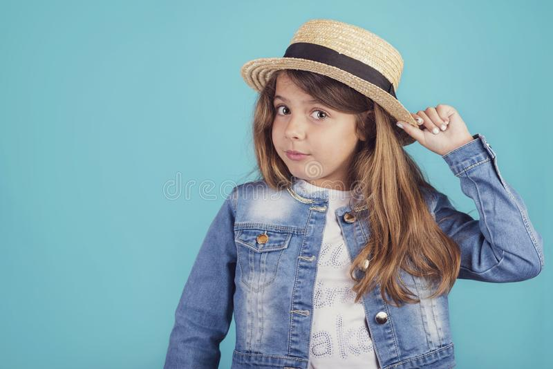 Portrait of happy girl with hat royalty free stock photo