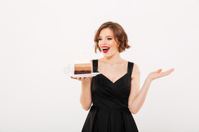Download Portrait Of A Happy Girl Holding Plate Stock Image - Image of dessert, beauty: 109294641