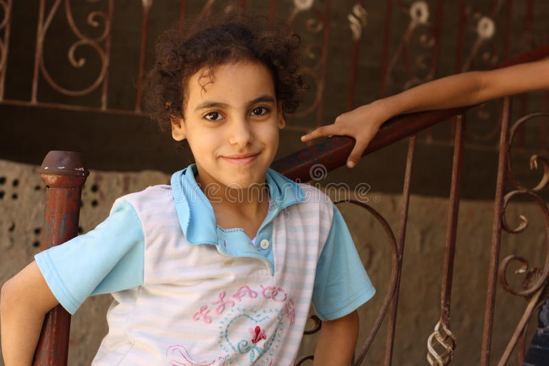 Portrait of a happy girl in the street in giza, egypt stock photos
